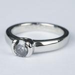 Petite Semi Bezel Diamond Engagement Ring in Platinum - small angle 2