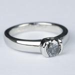 Petite Semi Bezel Diamond Engagement Ring in Platinum - small angle 3