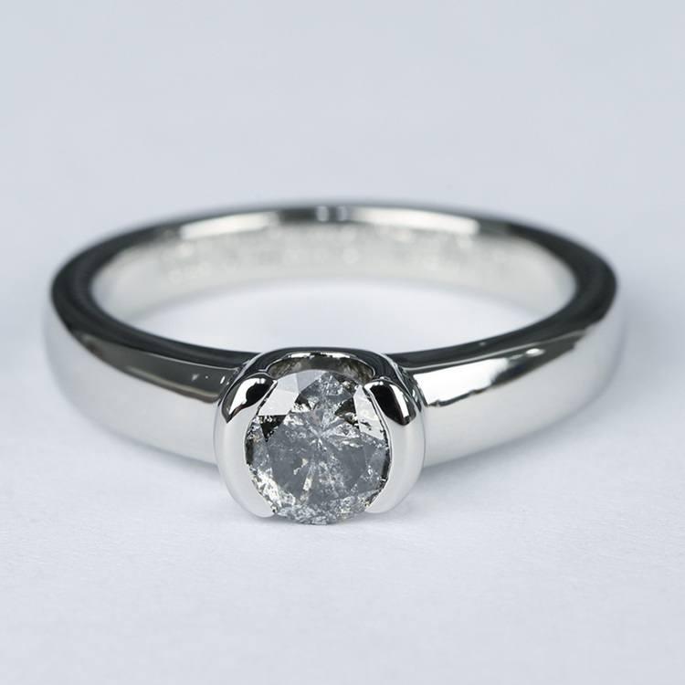 Petite Semi Bezel Diamond Engagement Ring in Platinum