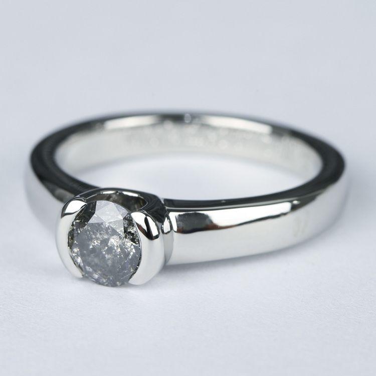 Petite Semi Bezel Diamond Engagement Ring in Platinum angle 2
