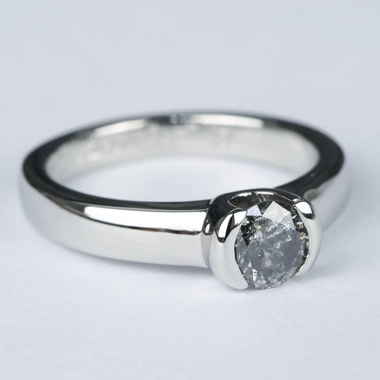 Petite Semi Bezel Diamond Engagement Ring in Platinum angle 3