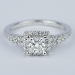 Split Shank Halo Princess Diamond Engagement Ring (1 Carat) - small