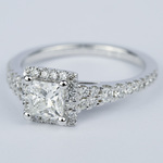 Split Shank Halo Princess Diamond Engagement Ring (1 Carat) - small angle 2