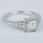Split Shank Halo Princess Diamond Engagement Ring (1 Carat) - small angle 3