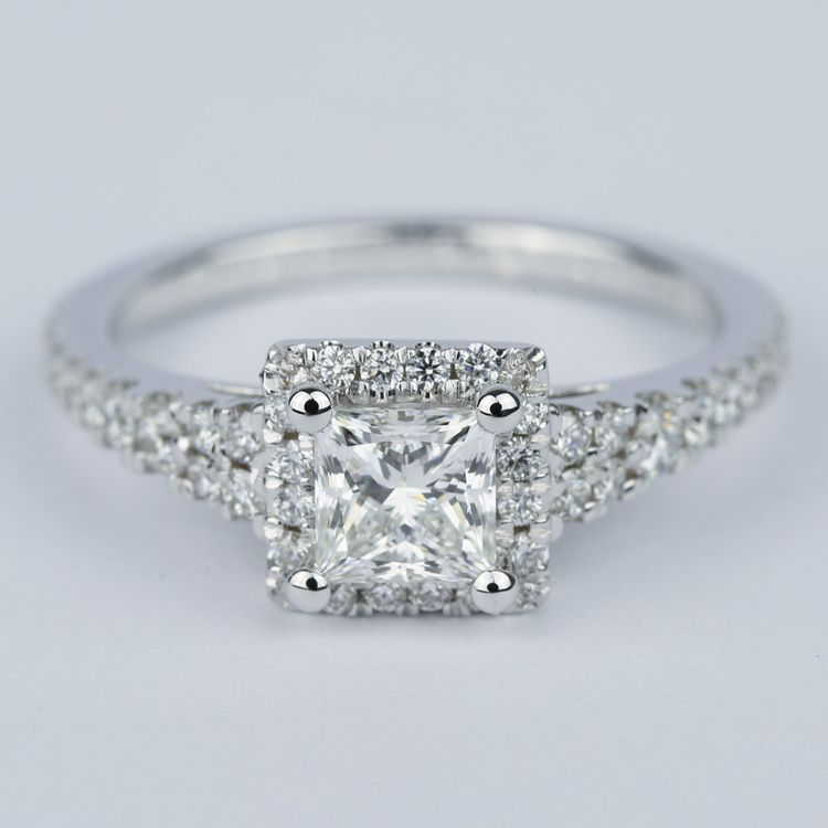 Split Shank Halo Princess Diamond Engagement Ring (1 Carat)