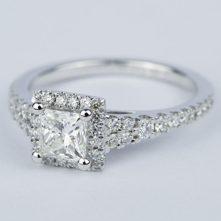 Split Shank Halo Princess Diamond Engagement Ring (1 Carat) angle 2