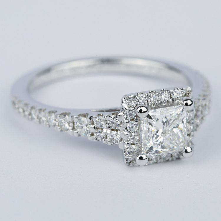 Split Shank Halo Princess Diamond Engagement Ring (1 Carat) angle 3