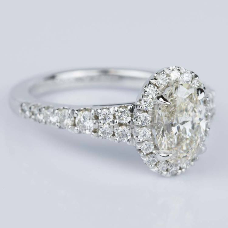 Petite Split Shank Oval Halo Diamond Engagement Ring (1.11 ct.) angle 3