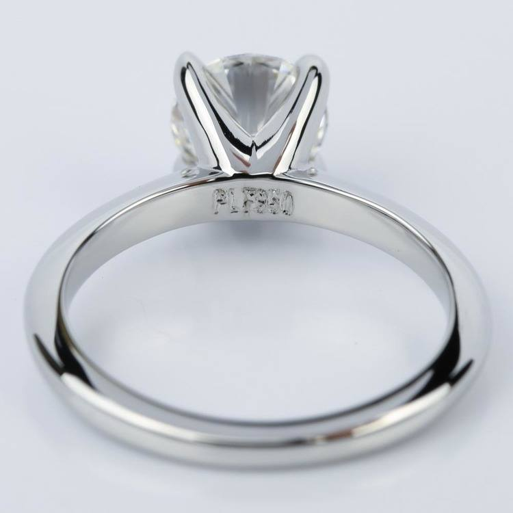 Platinum Knife Edge Round Solitaire Engagement Ring (1.30 Carat) angle 4