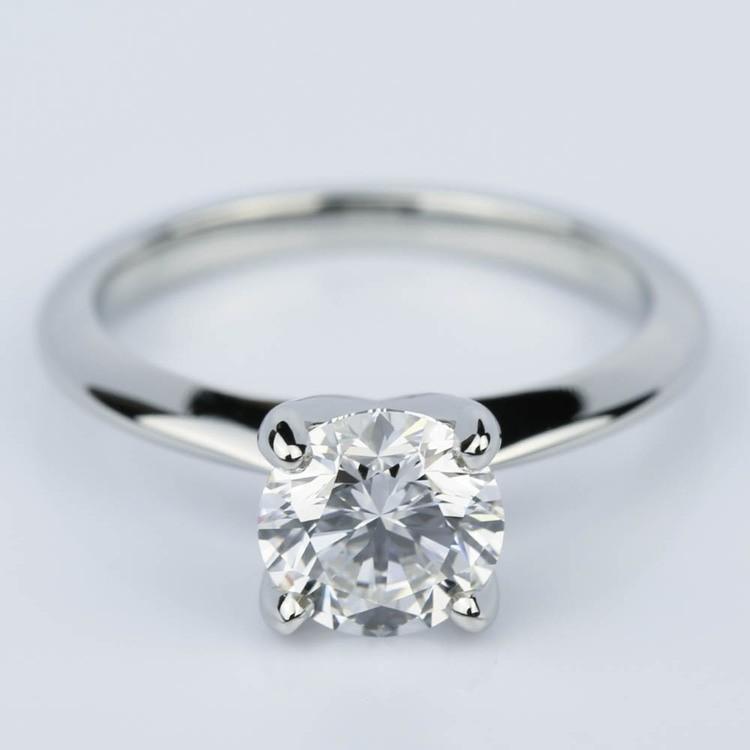 Platinum Knife Edge Round Solitaire Engagement Ring (1.30 Carat)