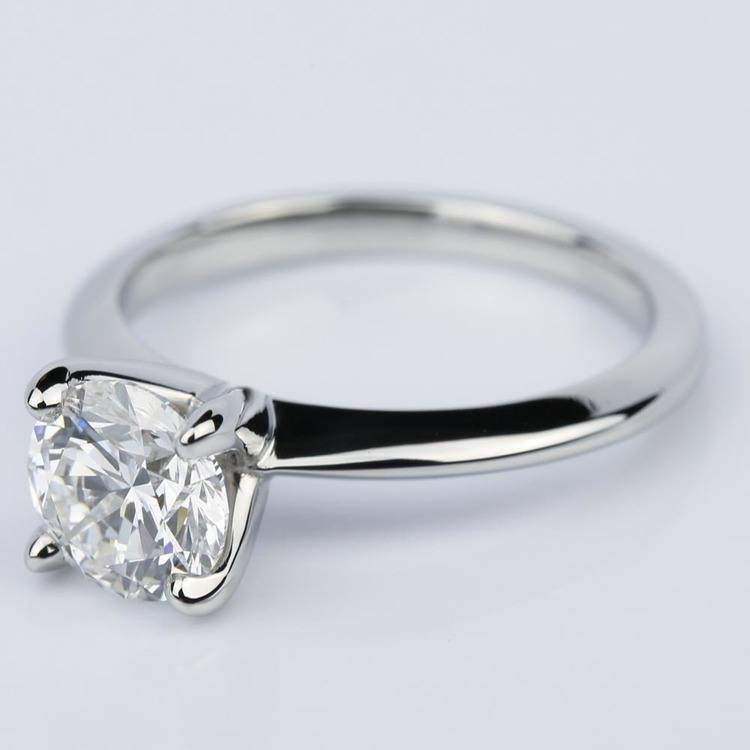 Platinum Knife Edge Round Solitaire Engagement Ring (1.30 Carat) angle 2