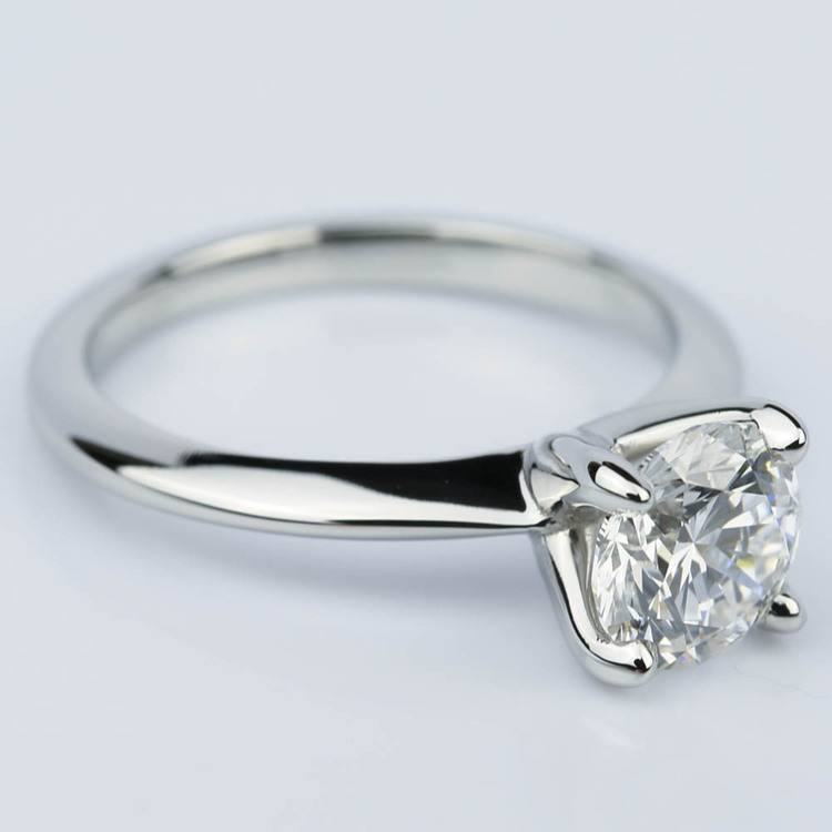 Platinum Knife Edge Round Solitaire Engagement Ring (1.30 Carat) angle 3