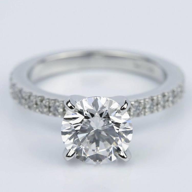 Platinum Petite Pave Round Diamond Engagement Ring (2.22 ct.)