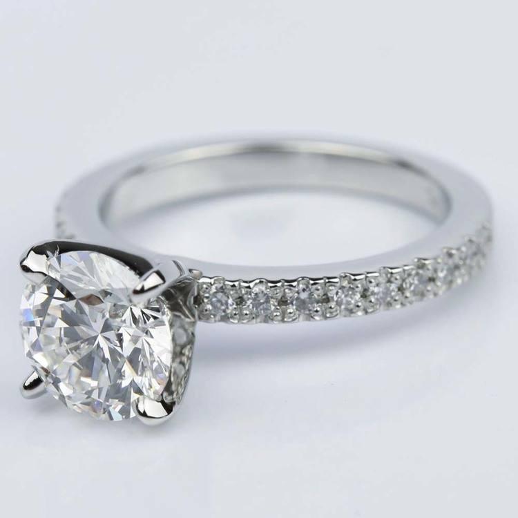 Platinum Petite Pave Round Diamond Engagement Ring (2.22 ct.) angle 2