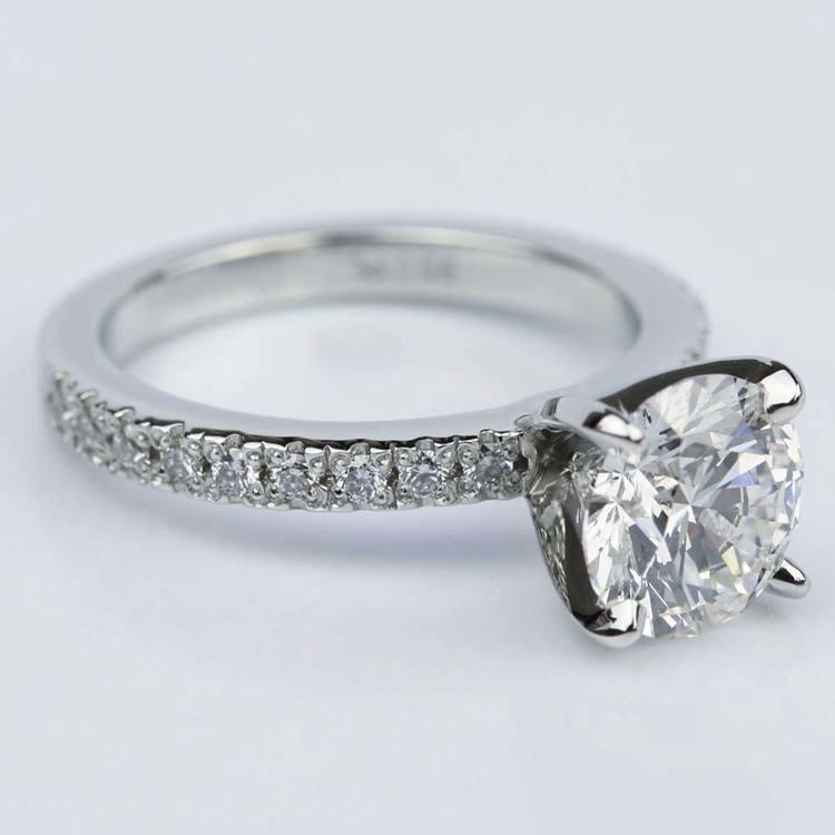 Platinum Petite Pave Round Diamond Engagement Ring (2.22 ct.) angle 3