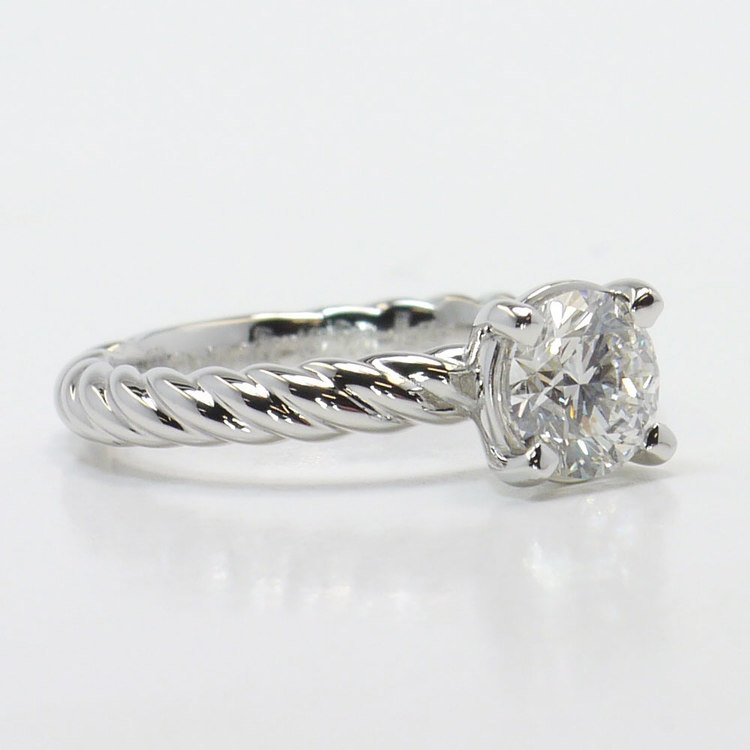 Platinum Twisted Rope Engagement Ring angle 3