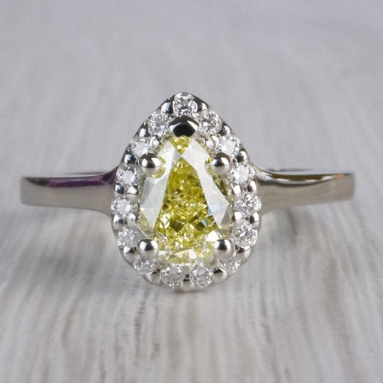 Yellow Diamond Pear Shaped Engagement Ring w/ Diamond Halo