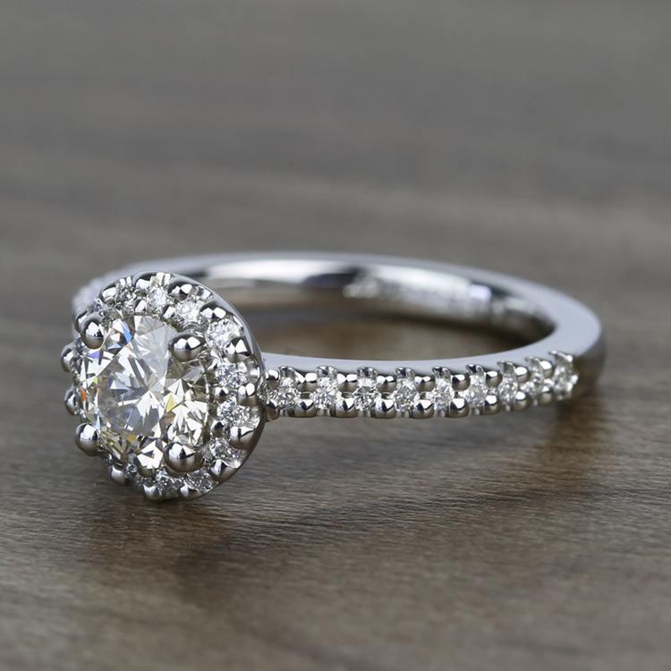 Preset 1.25 Carat Round Halo Diamond Engagement Ring angle 2