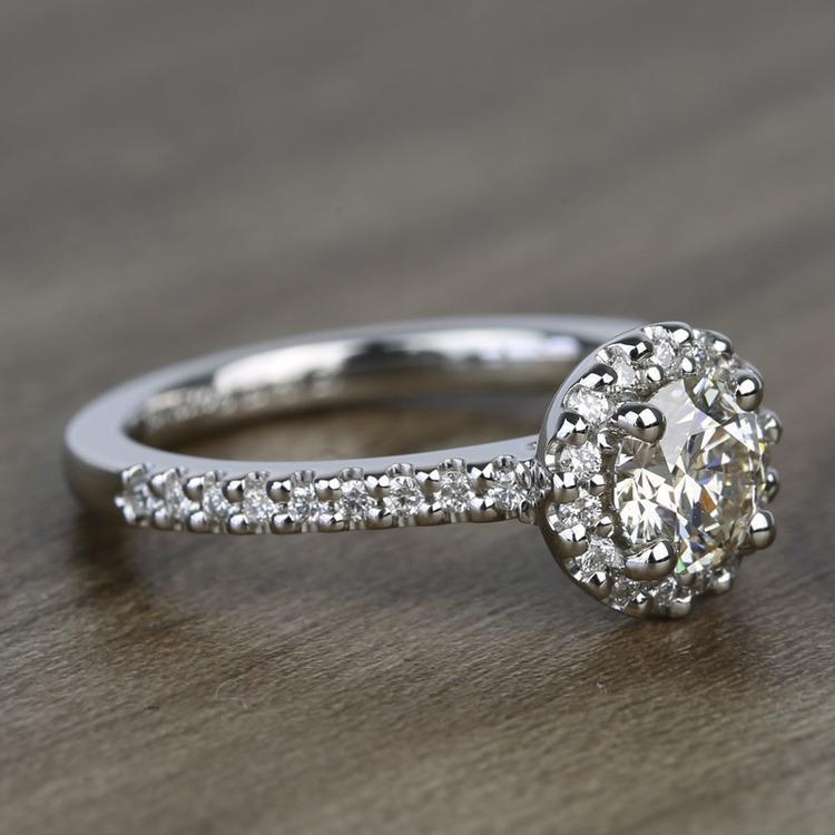 Preset 1.25 Carat Round Halo Diamond Engagement Ring angle 3