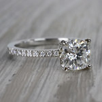 Pretty Pave Cushion Moissanite Diamond Engagement Ring - small angle 3
