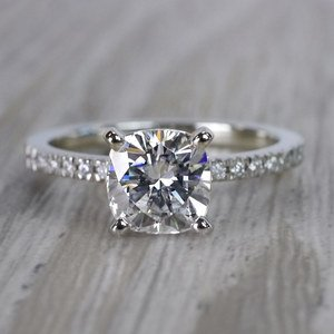 Pretty Pave Cushion Moissanite Diamond Engagement Ring