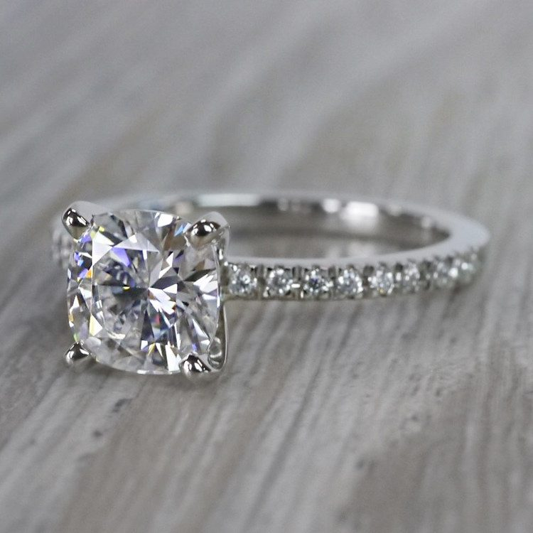 Pretty Pave Cushion Moissanite Diamond Engagement Ring angle 2
