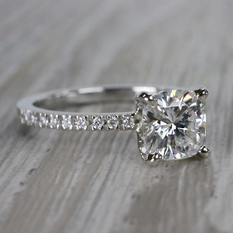 Pretty Pave Cushion Moissanite Diamond Engagement Ring angle 3