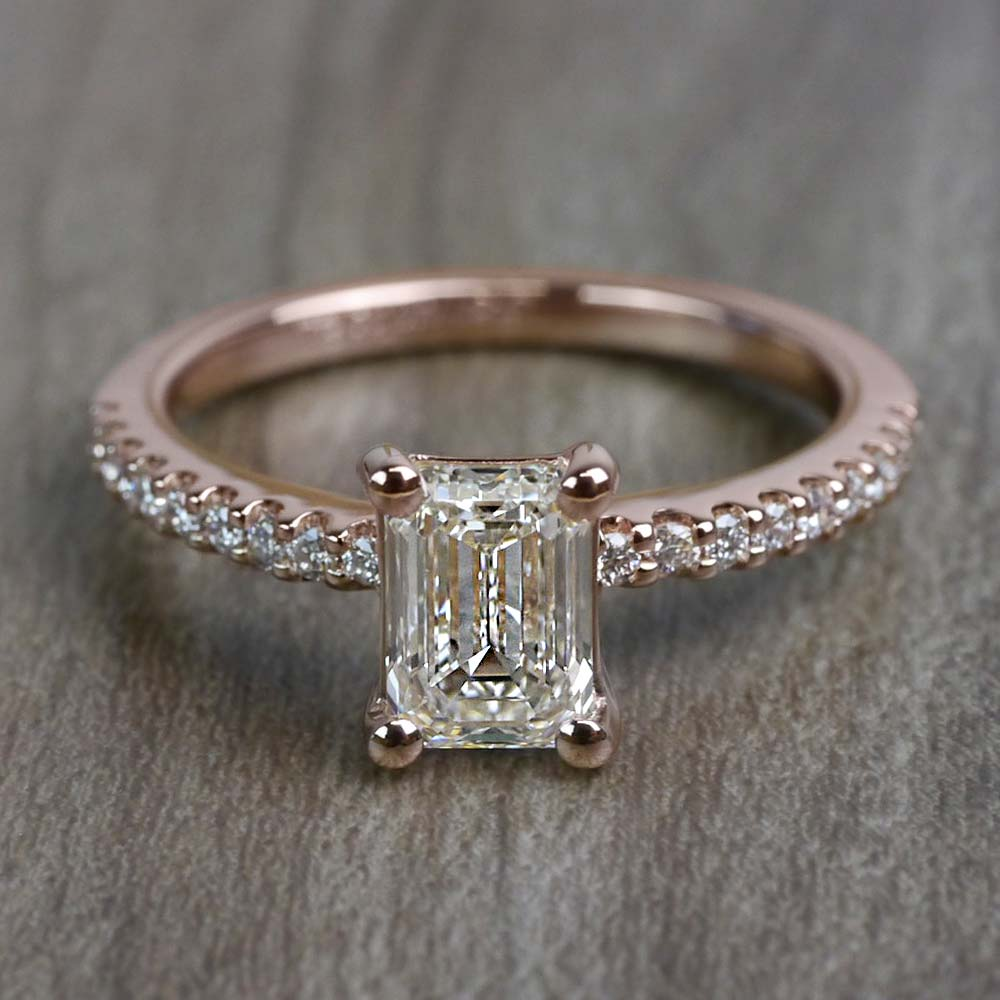 Pretty Pave Rose Gold Engagement Emerald Cut Diamond Ring