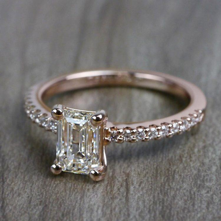Pretty Pave Rose Gold Engagement Emerald Cut Diamond Ring angle 2