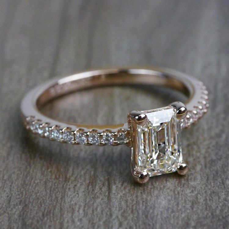 Pretty Pave Rose Gold Engagement Emerald Cut Diamond Ring angle 3