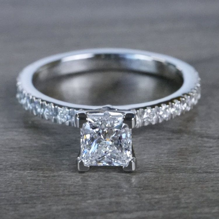 Pretty Petite Pave Princess Cut Diamond Engagement Ring