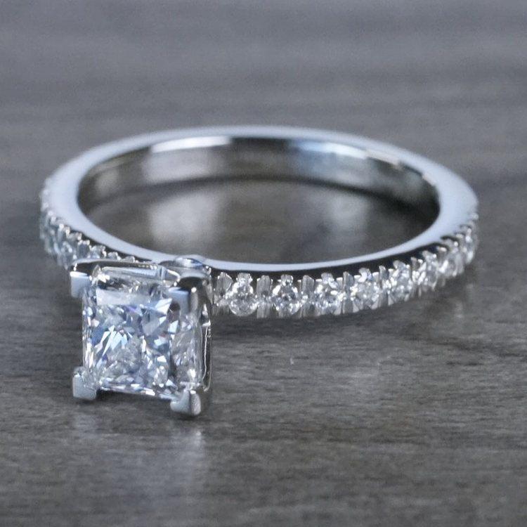 Pretty Petite Pave Princess Cut Diamond Engagement Ring angle 2