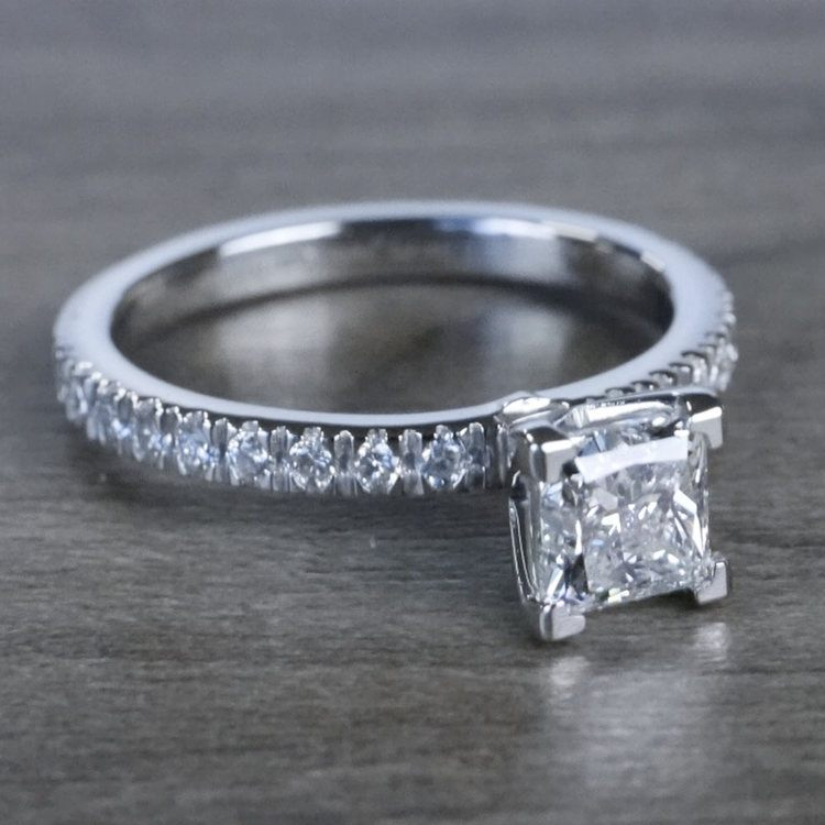 Pretty Petite Pave Princess Cut Diamond Engagement Ring angle 3