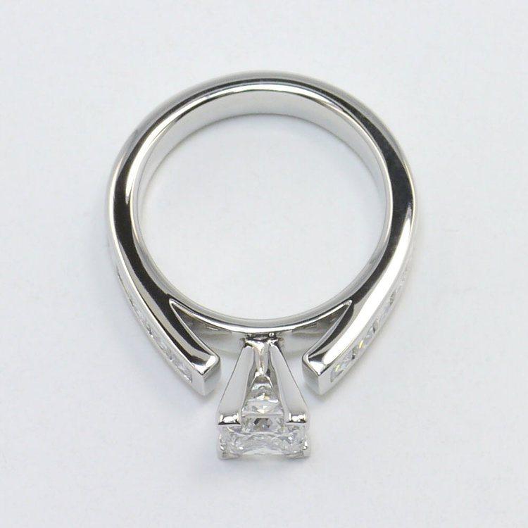 1 Carat Princess Channel Diamond Engagement Ring angle 4