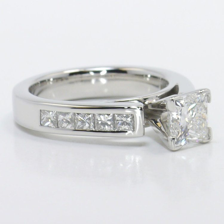 1 Carat Princess Channel Diamond Engagement Ring angle 3