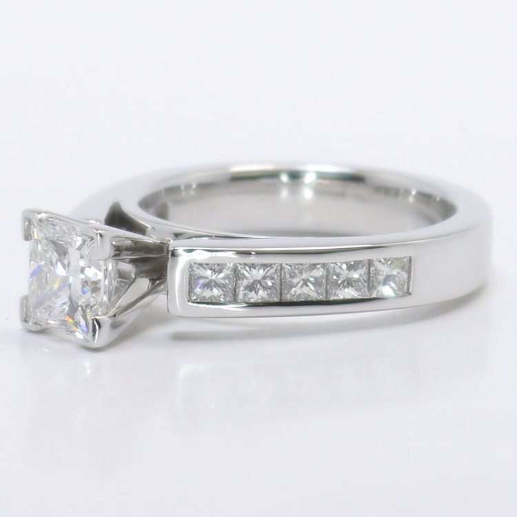 1 Carat Princess Channel Diamond Engagement Ring angle 2