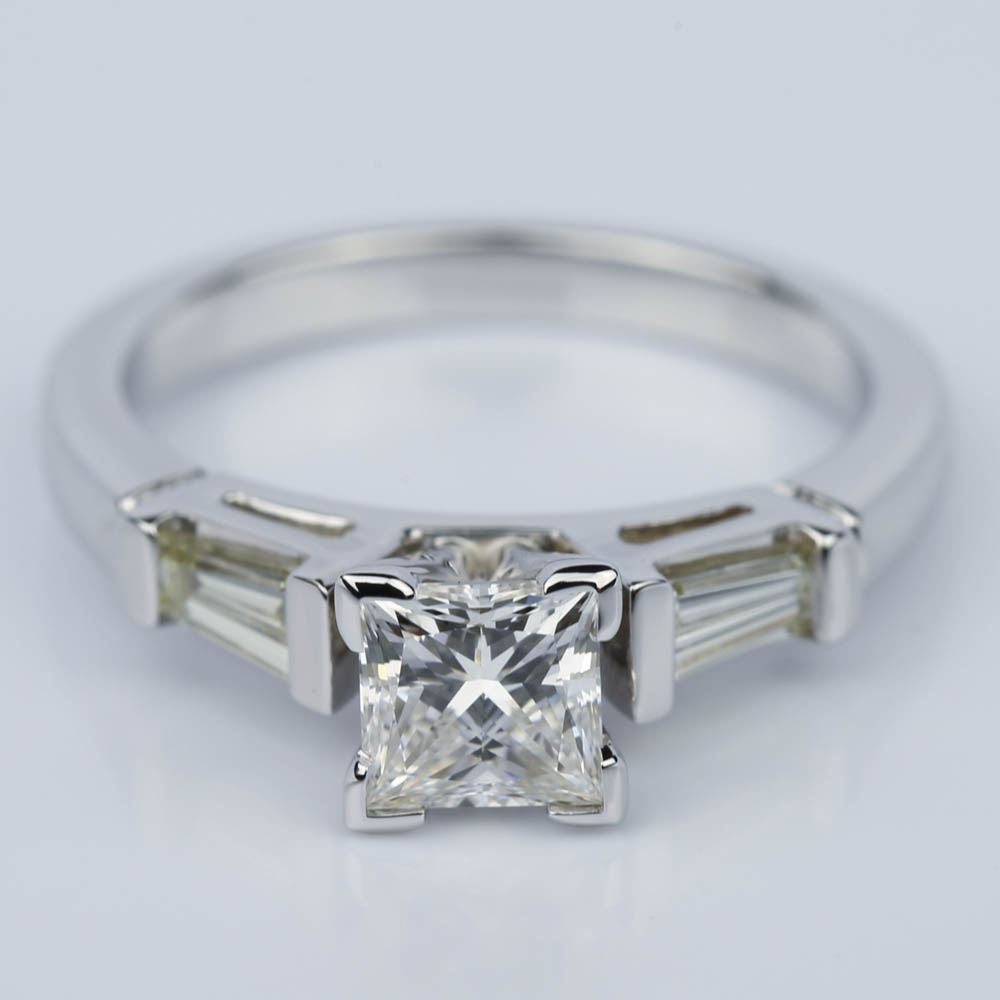 princess cut baguette ring 1 3 ctw in white gold