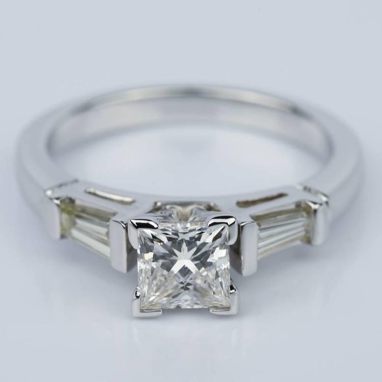Princess Cut Baguette Diamond Ring 1/3 Ctw in White Gold (0.74 ct.)