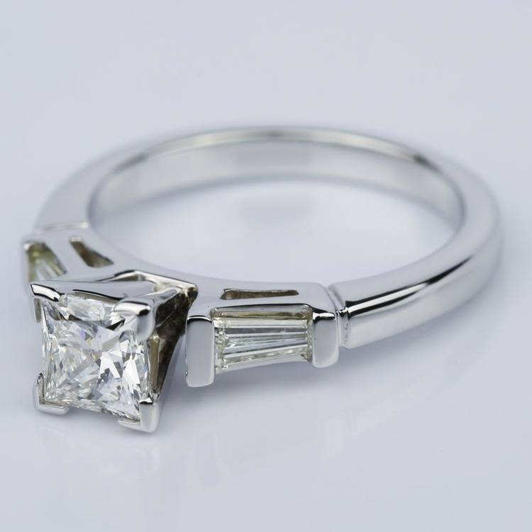 Princess Cut Baguette Diamond Ring 1/3 Ctw in White Gold (0.74 ct.) angle 2