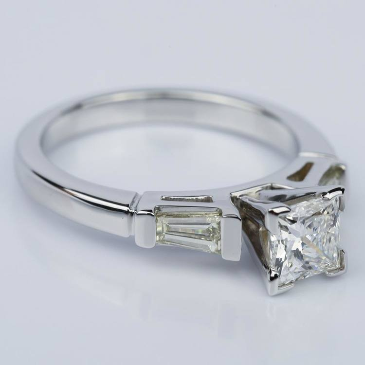 Princess Cut Baguette Diamond Ring 1/3 Ctw in White Gold (0.74 ct.) angle 3