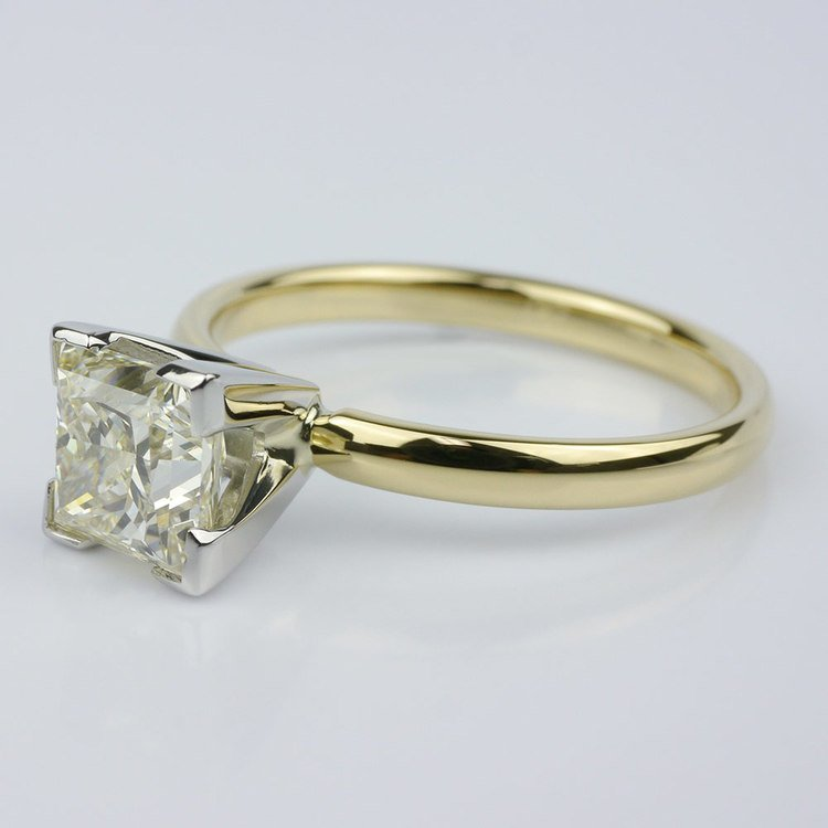 Comfort-Fit Solitaire Ring Featuring a Princess Diamond angle 3