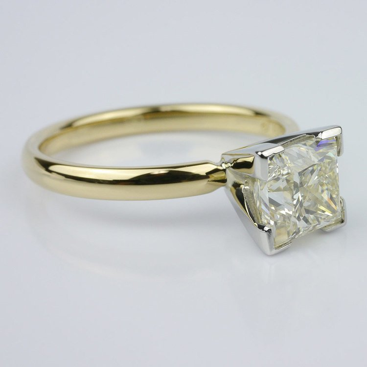 Comfort-Fit Solitaire Ring Featuring a Princess Diamond angle 2