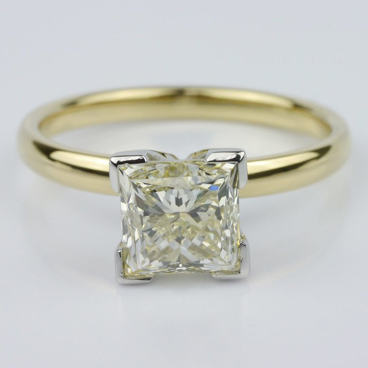 Comfort-Fit Solitaire Ring Featuring a Princess Diamond