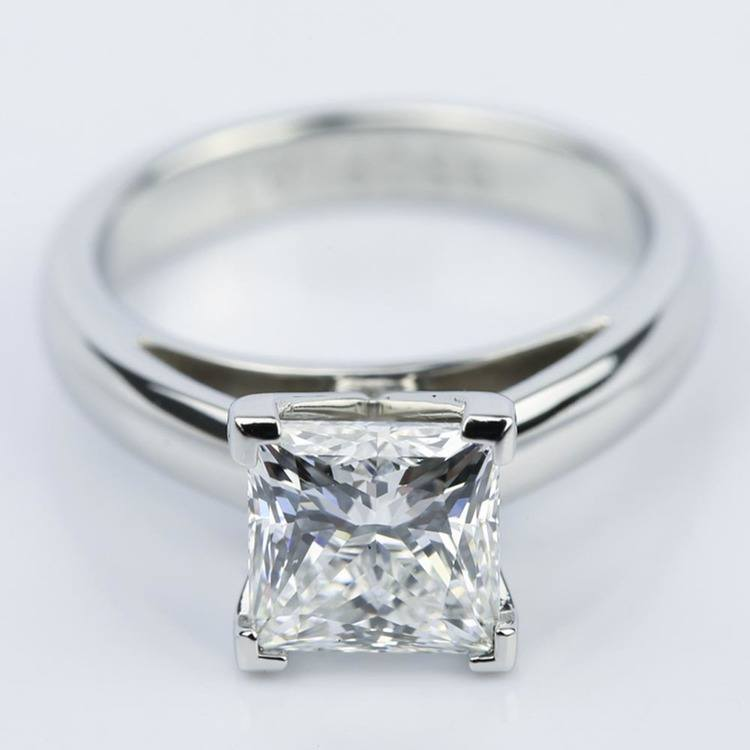 Princess Cut Diamond with Cathedral Solitaire Ring (1.60 ct.)