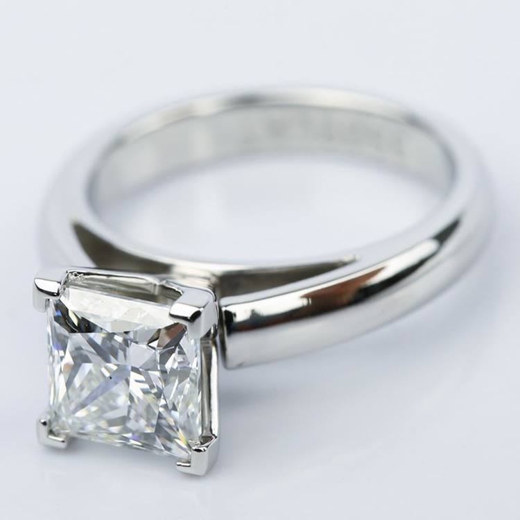 Princess Cut Diamond with Cathedral Solitaire Ring (1.60 ct.) angle 2