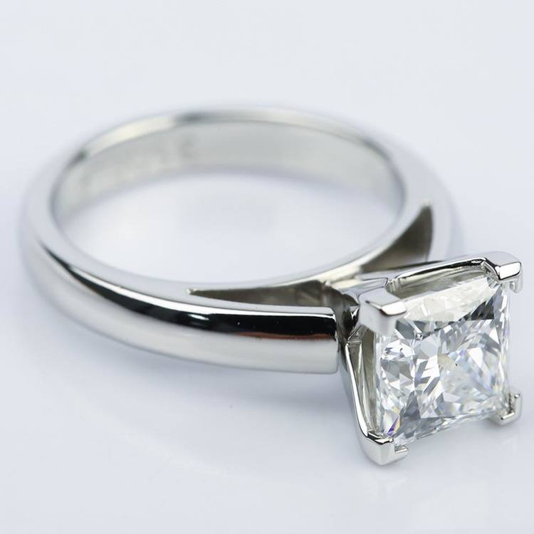 Princess Cut Diamond with Cathedral Solitaire Ring (1.60 ct.) angle 3