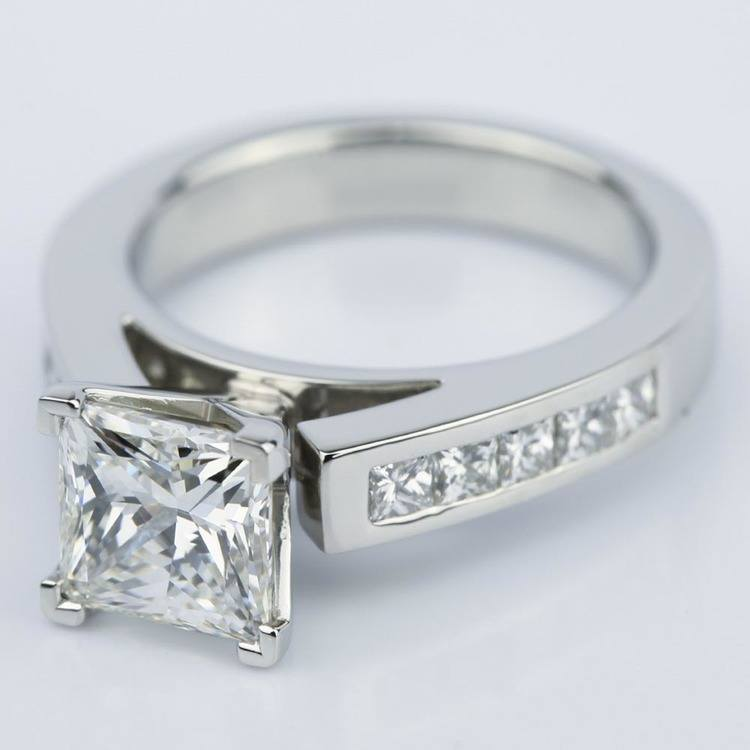 Princess Cut Diamond Channel Engagement Ring (1.50 Carat) angle 2