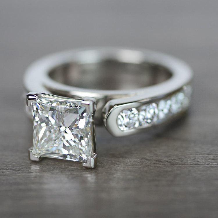 Princess Cut Diamond Channel Set Engagement Ring angle 2