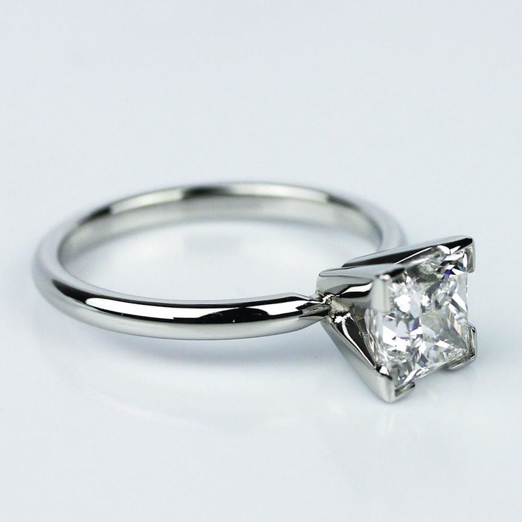 Princess Cut Diamond with Solitaire Setting in Platinum (1.60 ct.) angle 3