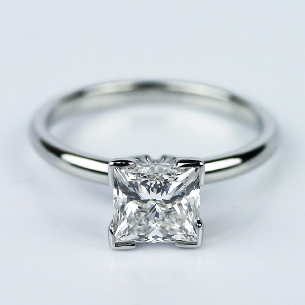 Princess Cut Diamond With Solitaire Setting In Platinum 1